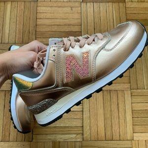 New Balance 574 Pink Metallic Sneakers